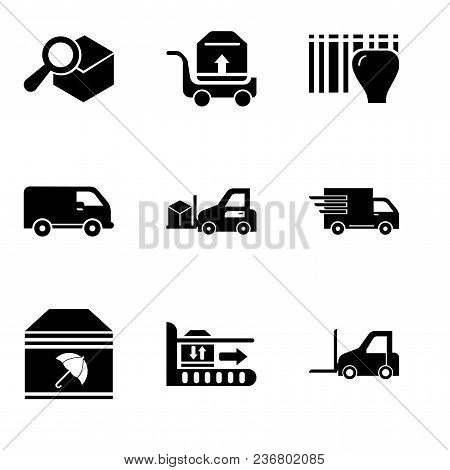 Set Of 9 Simple Editable Icons Such As Logistics Transport, Package On Rolling Transport, Delivery P