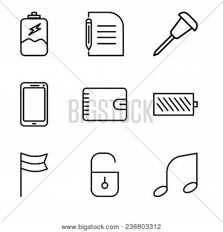 Set Of 9 Simple Editable Icons Such As Musical Note, Locked Padlock, Location Flag, Battery Level, W