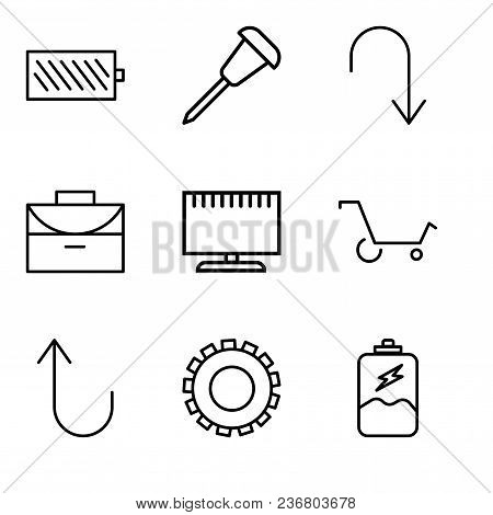 Set Of 9 Simple Editable Icons Such As Battery Charging, Gear, Cancel Button, Shopping Cart, Televis