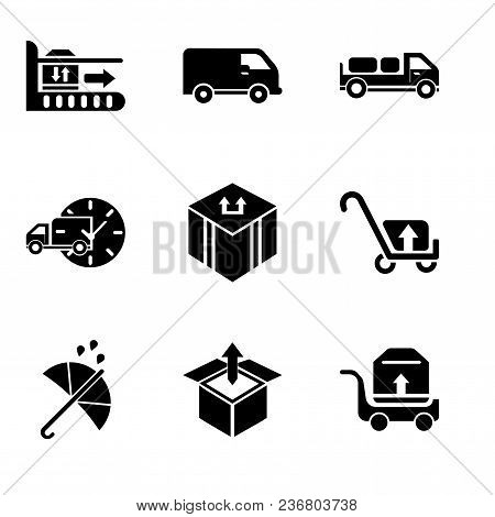 Set Of 9 Simple Editable Icons Such As Package Transportation On A Trolley, Delivery Box Package Ope