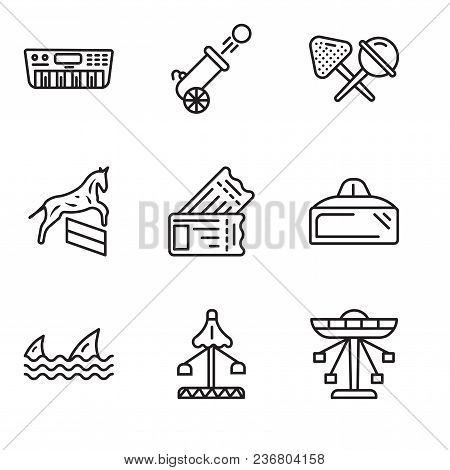 Set Of 9 Simple Editable Icons Such As Carousel, Fair, Sharks, Vr Glasses, Tickets, Horse, Candy, Ca