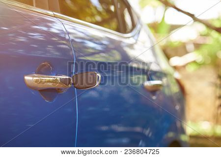 Unlocking Vehicle Door Theme. Key Left In Car Lock