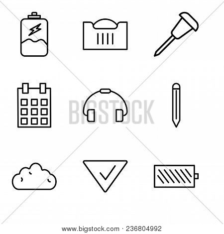 Set Of 9 Simple Editable Icons Such As Battery Level, Check Mark, Cloud, Edit Tool, Telephone Handle