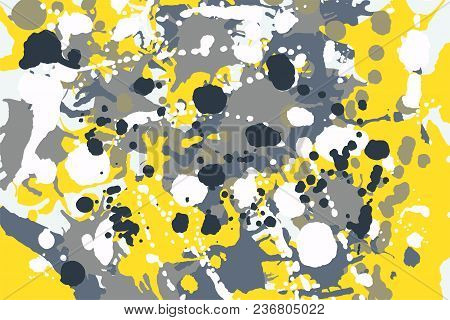 Grey, Yellow, Blue, White Ink Paint Splashes Camouflage Vector Colorful Background