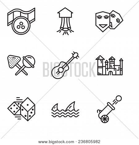 Set Of 9 Simple Editable Icons Such As Cannon, Sharks, Dices, Disneyland, Guitar, Candy, Theater, Pa