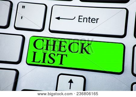 Word Writing Text Check List. Business Concept For Items Required Things To Be Done Points To Be Con