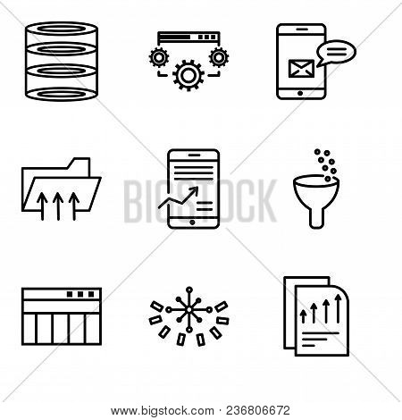 Set Of 9 Simple Editable Icons Such As Bars Chart Page, Data Analytics Circular, Table For Data, Dat