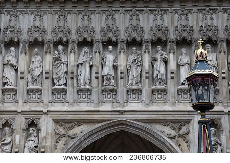 London - July 29, 2017: A Close-up Of The 20th Century Martyrs Added To The Exterior Of Westminster
