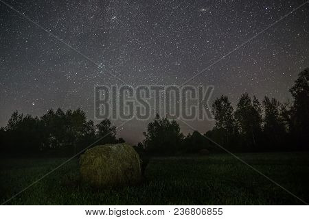 Hay On A Forest Glade In Starlit Night