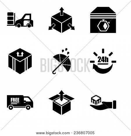 Set Of 9 Simple Editable Icons Such As Package Delivery In Hand, Delivery Box Package Opened With Up