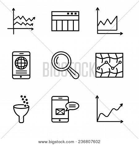 Set Of 9 Simple Editable Icons Such As Data Wave Chart, Data Analytics Bars, Data Analytics, Stock,