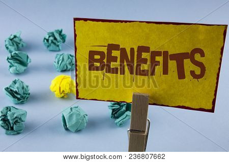 Word Writing Text Benefits. Business Concept For Hike In Allowance For Senior Employees Of The Compa
