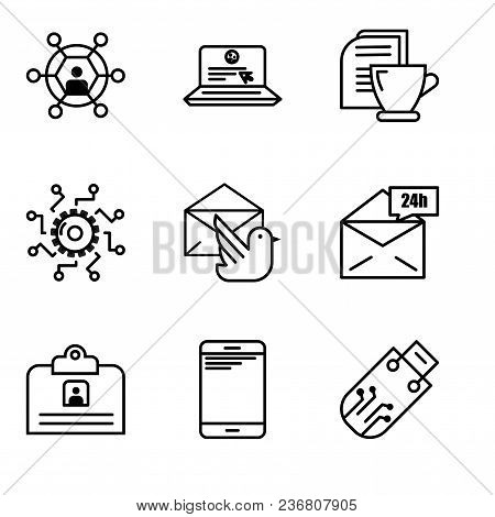 Set Of 9 Simple Editable Icons Such As Pendrive, Smartphone, Contact Id Card, Mail 24 Hours, Mail Bi