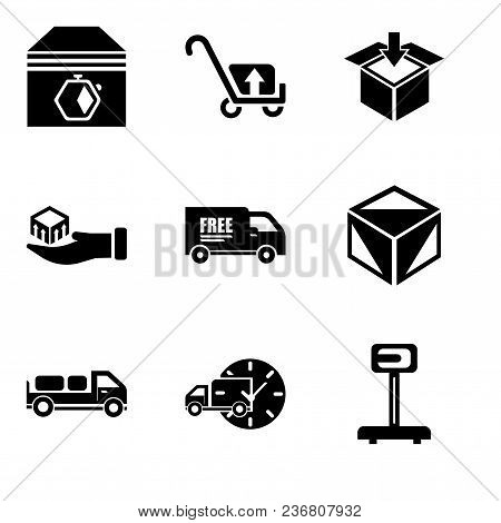 Set Of 9 Simple Editable Icons Such As Logistics Weight Scale, Delivery Truck With Circular Clock, D
