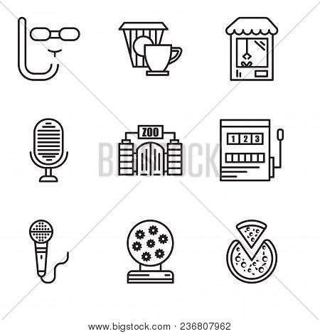 Set Of 9 Simple Editable Icons Such As Pizza, Magic Ball, Microphone, Gaming, Zoo, Microphone, Machi