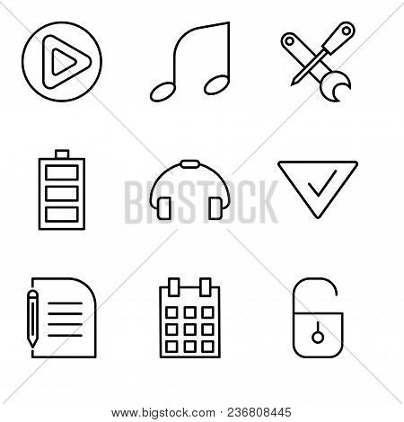 Set Of 9 Simple Editable Icons Such As Locked Padlock, Calendar With Day 5, Piece Of Paper And Penci