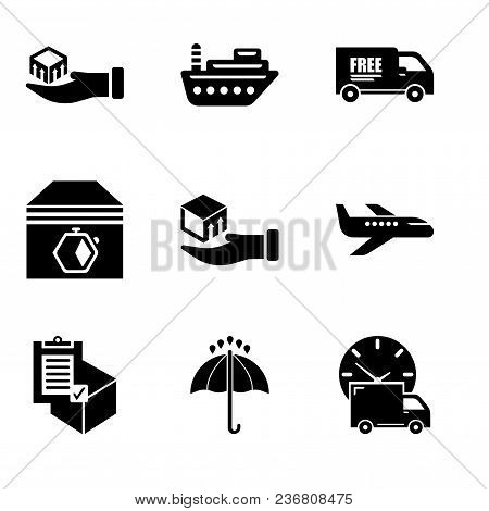 Set Of 9 Simple Editable Icons Such As Logistics Delivery Truck And Clock, Black Opened Umbrella, Co