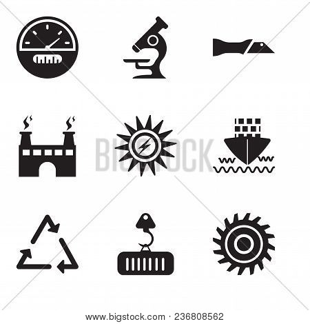 Set Of 9 Simple Editable Icons Such As Saw Blade, Crane With Load, Triangle, Ship, Sun Energy, Facto