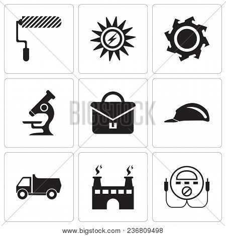 Set Of 9 Simple Editable Icons Such As Energy Check, Factory, Truck, Header, Portfolio, Microscope,