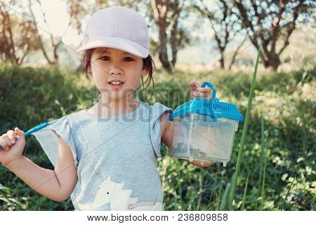 Cute Asain Girl Catching Butterfies With A Net And Holding A Box Of Insects, Outdoor Activity For Ki