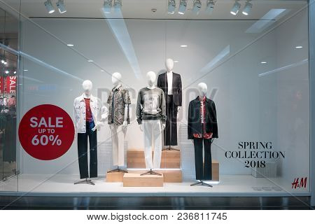 H&m Shop At Fashion Island, Bangkok, Thailand, Mar 22, 2018 : Fashionable Brand Window Display. Spri