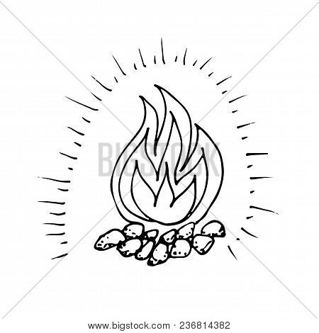 Doodle Shining Camping Fire Hand Drawn Black And White Vector Illustration