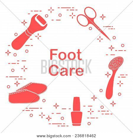 Tools For Pedicure. Nail Polish, Electric Foot File, Pumice, Scissors, Silicone Socks. Personal Care