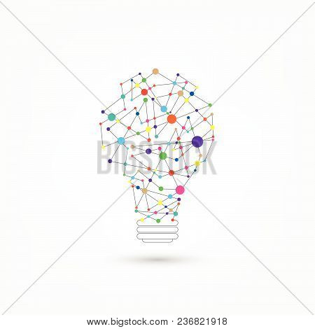 Network Technology In The Form Of Light Bulbs.