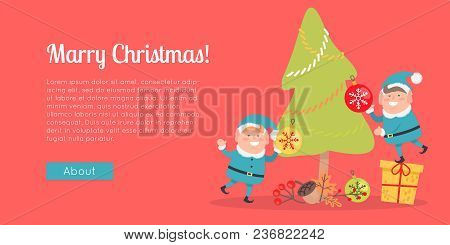 Merry Christmas Web Banner. Two Elves In Blue Santa Suits Decorate Christmas Tree. Little Elf Stand