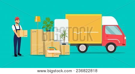 Moving House. Man With Cardboard Boxes.vector Flat Style Illustration
