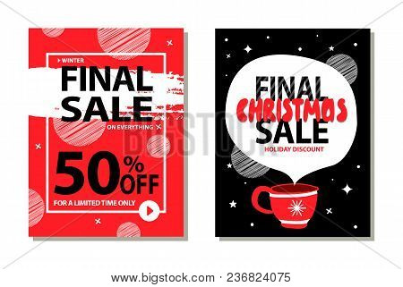 Sale On Limited Time Only, Final Christmas Discount Collection Of Posters, Frame And Brush, Icon Of