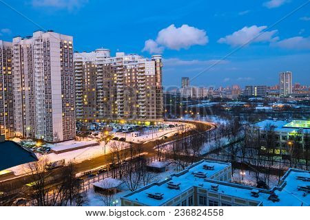 Evening Winter View Of The Environmentally Friendly Comfortable Residential District In Moscow. Busi