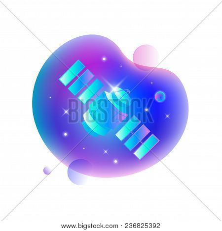 Vector Ui Illustration Of Satellite Floating In An Outer Space On Bright Blue Spot.