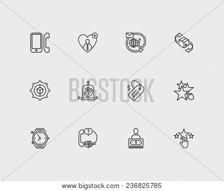 Support Icons Set. Support And Support Icons With Delivery, Star And Quality. Set Of Businessman For