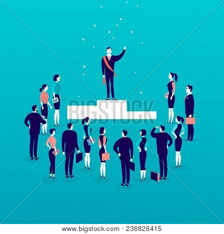 Vector Flat Illustration With Successful Businessman Standing On Podium In Front Of Office People Cr