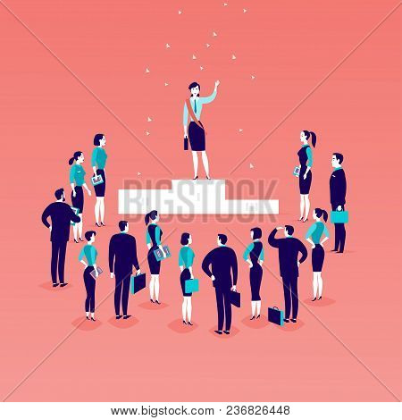 Vector Flat Illustration With Successful Business Lady Standing On Podium In Front Of Office People