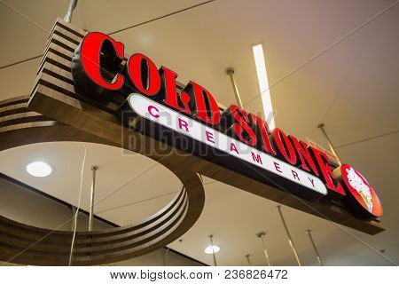 Chiangmai, Thailand - June 16 ,2017: Cold Stone Ice-cream Shop Sign, This Branch Is Located In Centr