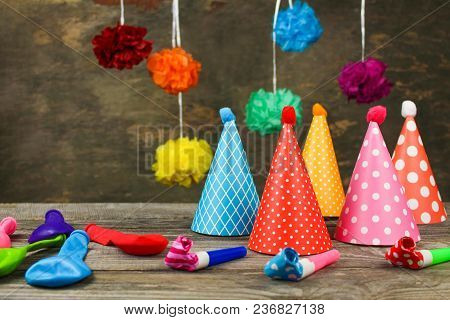 Holiday Hats, Whistles, Balloons. Concept Of Childrens Birthday Party.