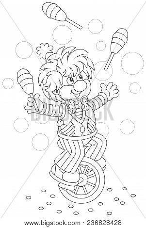 Circus Show Of A Funny Clown Juggling With Skittles And Riding His Unicycle, Black And White Vector