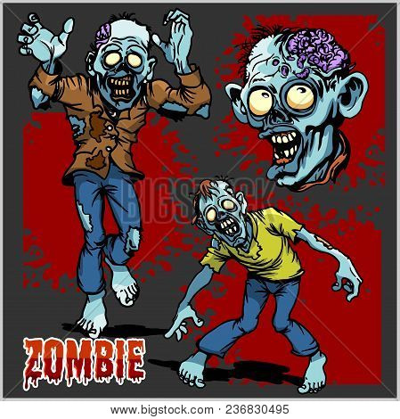 Zombie Comic Set - Cartoon Zombie. Set Of Color Drawings Of Zombies On Dark Background.