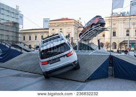 Krakow, Poland, April 18, 2018, Testing Two Cars Land Rover Discovery  With Passengers And Obstacles