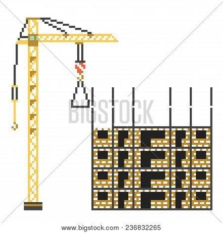 Construction Building House With Crane In 8 Bit Retro Style. Pixel Color Vector Illustration
