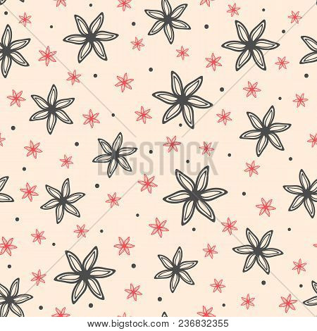 Repeating Flowers Drawn By Hand. Floral Seamless Pattern. Sketch, Doodle. Endless Feminine Print. Ve