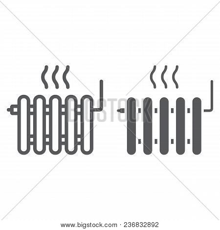 Radiator Heating Line And Glyph Icon, Real Estate And Home, Heat Sign Vector Graphics, A Linear Patt