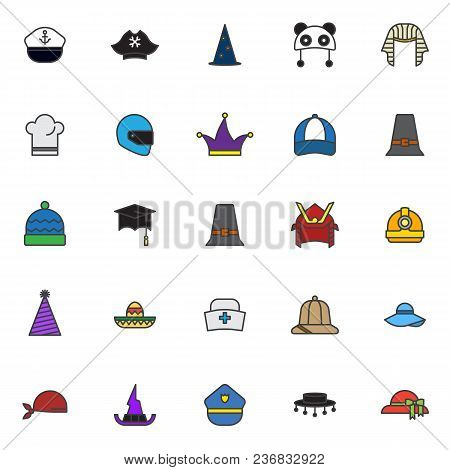 Headdress Filled Outline Icons Set, Line Vector Symbol Collection, Linear Colorful Pictogram Pack. S