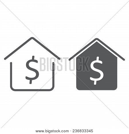 Dollar House Line And Glyph Icon, Real Estate And Home, Buy Sign Vector Graphics, A Linear Pattern O
