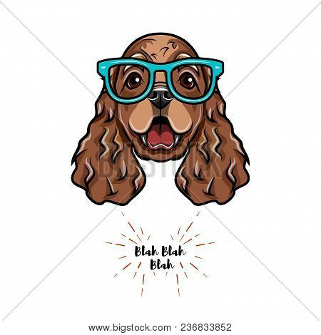 English Cocker Spaniel Geek. Smart Glasses. Og Portrait. Vector Illustration