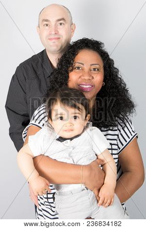 Mixed Race Family Black And Caucasian American Couple With Son