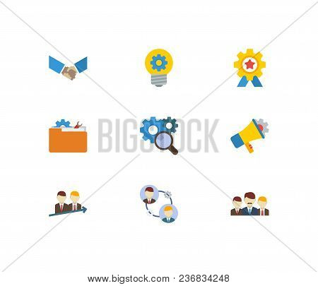 Technology Collaboration Icons Set. Successful Partnership And Technology Collaboration Icons With T