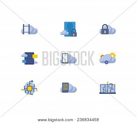 Cloud Service Icons Set. Machine Learning With Cloud Technology, Cloud Application And Cloud Securit